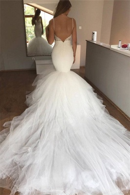 Sexy Mermaid Lace Wedding Dresses  | Cheap V-neck Straps Open Back Bridal Gowns  with Tulle Train_3