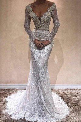 Glamorous  Long Sleeves Sexy Mermaid Wedding DressesBA9809_1