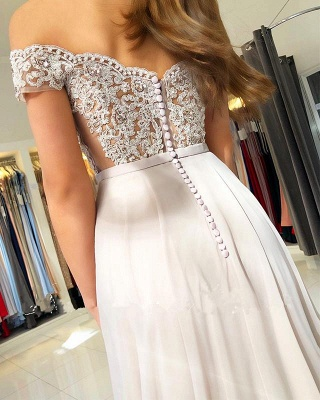 Off-the-Shoulder  Long Elegant Lace-Appliques Prom Dress_4