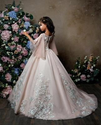 Lovely Princess Flower Girl Dress | Sweep Train A-line Girls Pageant Dress_4