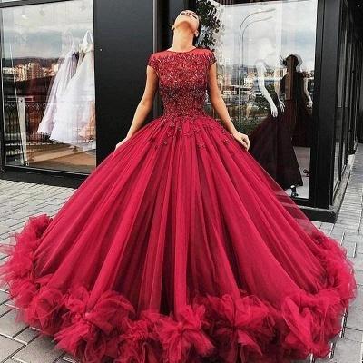 Ball-Gown Scoop Short-Sleeves Burgundy Luxury Prom Dresses_3