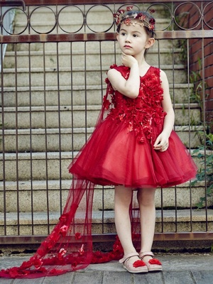 A-Line Tulle V-Neck Beading Knee-Length Flower Girl Dress