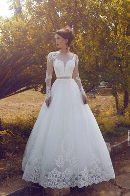 Sleeves Glamorous Tulle Sweep Train Appliques A-line Wedding Dress_2