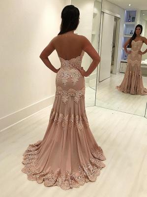 Sleeveless Sweep-train Sweetheart Lace Sheath Elegant Evening Dress_5
