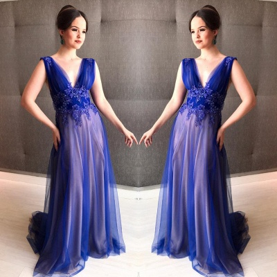 V-Neck Sleeveless Appliques Royal Blue A-line Prom Dress_3