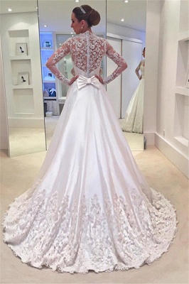 A-line  Long Sleeves See Through Lace Wedding Dresses with Bowknot_3