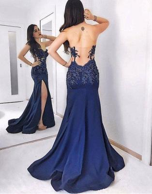 Lace Dark-blue Split-front Mermaid Sweep-train Sweetheart Evening Dress_2