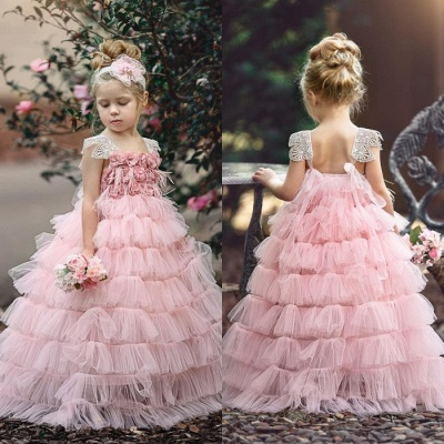 Pink Layers Tulle Flower Girl Dress |  Lace Princess Girls Pageant Dress BA9852_4