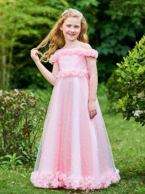 A-Line Tulle Off the Shoulder Flowers Floor-Length Girls Party Dress_1