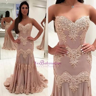 Sleeveless Sweep-train Sweetheart Lace Sheath Elegant Evening Dress_3