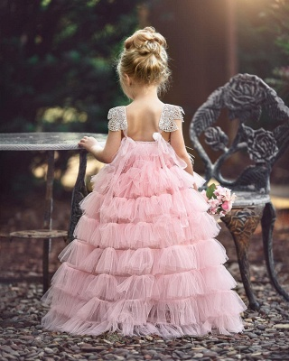 Pink Layers Tulle Flower Girl Dress |  Lace Princess Girls Pageant Dress BA9852_3