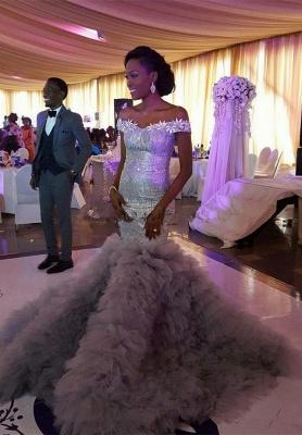 Sexy Mermaid Sequined Wedding Dress   Fashion Ruffles Off-the-shoulder Wedding Dress_1