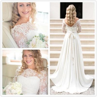 Fall Sash Bateau-Neck Glamorous Bow A-line Long Sleevess Lace Wedding Dresses_3
