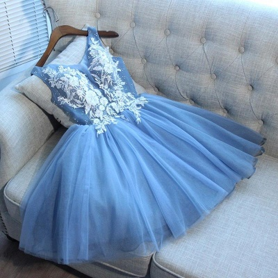 Elegant Blue Short Homecoming Dresses | V-Neck Lace-Up Cocktail Dresses_3