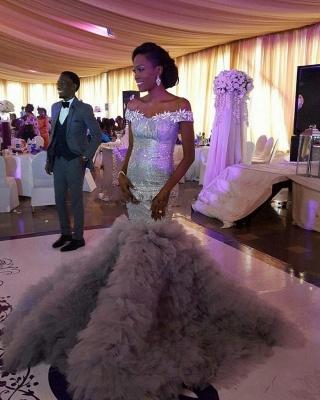 Sexy Mermaid Sequined Wedding Dress   Fashion Ruffles Off-the-shoulder Wedding Dress_3