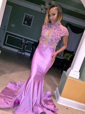 Cap-Sleeve Lilac High-Neck Illusion Flowers Appliques Mermaid Prom Dress_3
