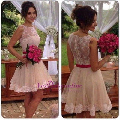 Jewel Elegant Sleeveless Mini A-line Lace Homecoming Dress_1