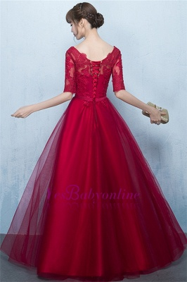 A-Line Lace-Up Glamorous Half-Sleeves Floor-Length Lace Evening Dresses_3