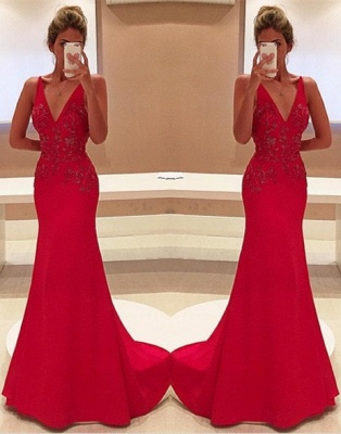 Two-Straps V-Neckline Sleeveless Appliques Long Red Prom Dress_2