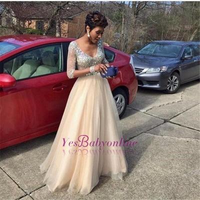 Crystal Glamorous Floor-Length V-Neck  Half-Sleeves Prom Dress_1
