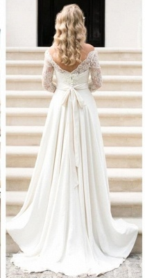 Fall Sash Bateau-Neck Glamorous Bow A-line Long Sleevess Lace Wedding Dresses_4