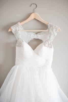 Cap-Sleeve  Straps Mesh Modern Beaded Wedding Dress_3