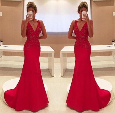 Two-Straps V-Neckline Sleeveless Appliques Long Red Prom Dress_3