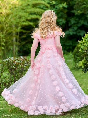 A-Line Tulle Off the Shoulder Flowers Floor-Length Girls Party Dress_3