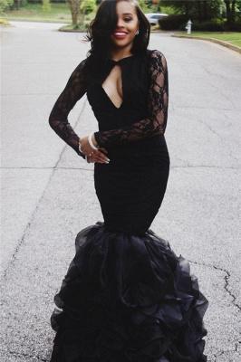 Keyhole-Neck Long-Sleeves Black Ruffles-Skirt Lace Sexy Mermaid Prom Dresses_2
