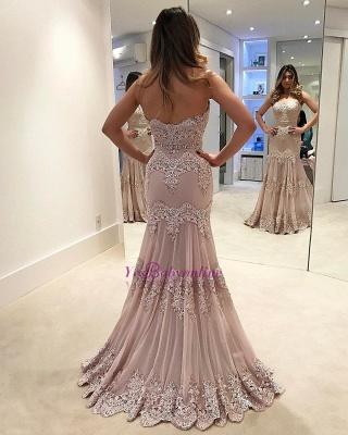 Sleeveless Sweep-train Sweetheart Lace Sheath Elegant Evening Dress_4