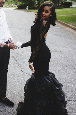 Keyhole-Neck Long-Sleeves Black Ruffles-Skirt Lace Sexy Mermaid Prom Dresses_3