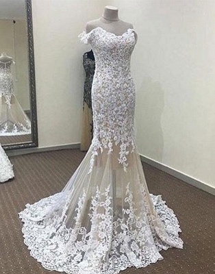 Mermaid White Off-the-shoulder Long Lace Evening Dress_2