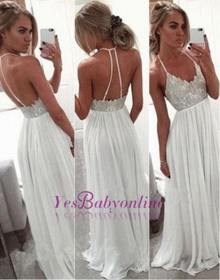 A-Line Lace  Open-Back Spaghetti-Strap Summer White Long Prom Dress_1