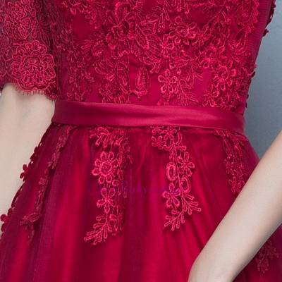 A-Line Lace-Up Glamorous Half-Sleeves Floor-Length Lace Evening Dresses_5