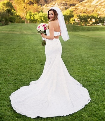 Sexy Two-Piece Sweetheart Beading Mermaid Lace Wedding Dresses_3