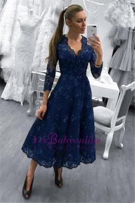 Dark-Navy V-Neck Beadings Lace A-line Tea-Length Evening Dress_1