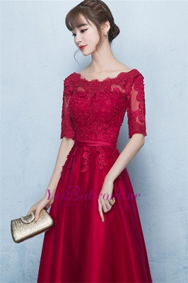 A-Line Lace-Up Glamorous Half-Sleeves Floor-Length Lace Evening Dresses_4