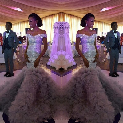 Sexy Mermaid Sequined Wedding Dress   Fashion Ruffles Off-the-shoulder Wedding Dress_4