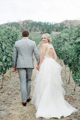 Cap-Sleeve  Straps Mesh Modern Beaded Wedding Dress_4