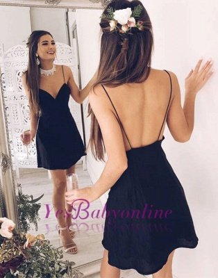 Black Short V-neck Chic Stylish Spaghetti Straps Backless Cocktail Dress_1