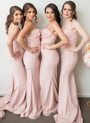 Pink Mermaid 3D-Floral-Appliques Spaghettis-Straps Bridesmaid Dresses_2