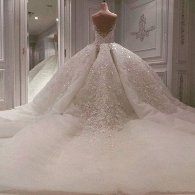 Alluring Off The Shoulder Sweetheart Lace Beading Ball Gown Wedding Dress_4