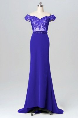 Chiffon Lace Off-the-Shoulder Sweep Train Bridesmaid Dresses_5