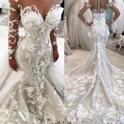 Delicate Sexy Mermaid  Lace Appliques Wedding Dress | Long Sleeve Bridal Dress BA9786_3