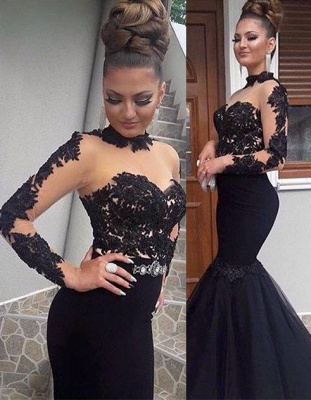 Long Mermaid Appliques Prom Dresses | Black Long Sleeves High Neck Evening Gowns_1