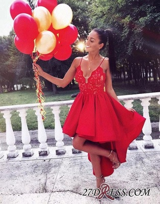 A-line V-neck Red Cute High-low Lace Homecoming Dress_1