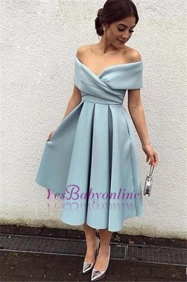 New Off-the-shoulder Party Dresses Baby Blue Satin Tea-Length Elegant Prom Dresses_1