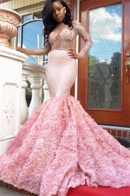 Luxury Pink Mermaid Prom Dresses Sheer Beading Long Sleeves Floral Skirt Evening Gowns_4