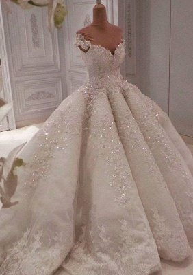 Alluring Off The Shoulder Sweetheart Lace Beading Ball Gown Wedding Dress_3