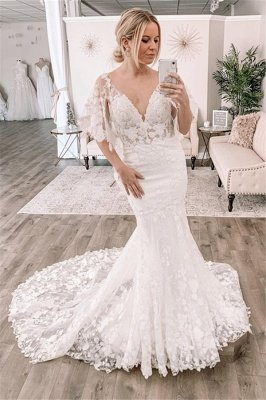 Sexy Short Sleeve Deep V Neck Lace Fitted Mermaid Wedding Dress_1
